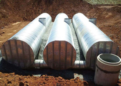 a cistern for the university of west georgia uses a threetank system comprising 96inch aluminized type 2 corrugated steel pipe with bulkheads welded to